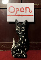 VTG Hand Carved & Painted Wood Cat Holding A Sign (ie: Notecard) Folk Art 8.25""