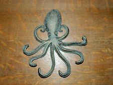 "Antiqued Octopus Cast Iron 7"" Towel Hanger Coat Hooks Hat Hook, Key Nautical"