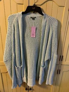 NWT Wild Fable Women's Long Sleeve Open Front Chenille Oversize Cardigan Mint XS
