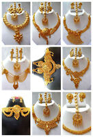 Indian 22K Gold Plated Variation Neckalce Earrings Bridal Gorgeous Set SALE dd