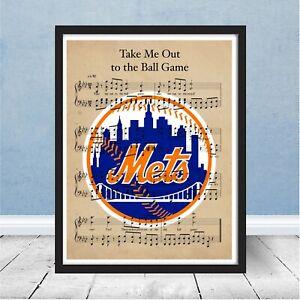 New York Mets Logo Take Me Out to Ball Game Sheet Music Print Wall Art Gift