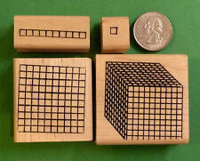 Place Value Number Grid Rubber Stamp Set of 4 - 1's-10's-100's-1000's - Wood Mtd