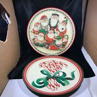 "Pair of Vintage Potpourri Press 13-1/2"" Christmas Trays Santa Candy Cane"