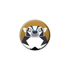 Geometric Badger Black And White - Honey - Metal Lapel Hat Pin Tie Tack Pinback