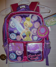 GIRLS TINKERBELL LARGE BACKPACK PURSE W/ NAMETAG~NEW~TINKER BELL PRETTY PURPLE