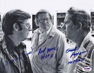 Leonard Wood & Bud Moore & David Pearson SIGNED 8x10 Photo PSA/DNA AUTOGRAPHED