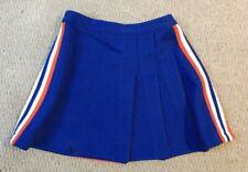 Authentic Real Varsity School Pleated Cheer Cheerleading Skirt Blue Orange White