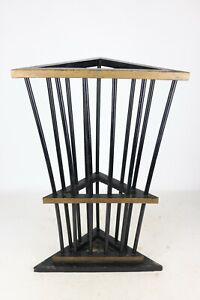 """Vintage Black & Gold Painted Folk Art Wooden Corner Umbrella / Cane Stand 26"""" T"""
