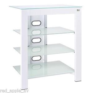 De Conti ARCA XL 4 Shelf Hi-Fi Stand In Artic White With White Glass Shelves