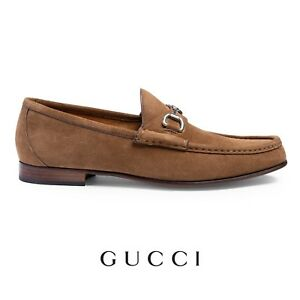 Men's Gucci Suede Shoes Size UK 11 EU 45 Light Brown Suede Loafers RRP £525