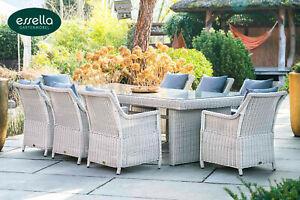 ESSELLA Polyrattan Sitzgruppe Dubai 8 Essgruppe Gartenmöbel Sitz Ess Garnitur