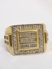 Mens Estate $1900 14K Yellow And White Gold Brilliant Cut Diamond Ring Size 10.5
