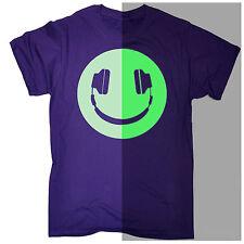Funny Men's T-shirt Glow in The Dark Headphone Smiling Music Rave Dj Birthday