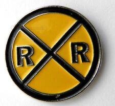 RAILROAD CROSSING SIGN RAILWAY LAPEL HAT PIN BADGE 1 INCH
