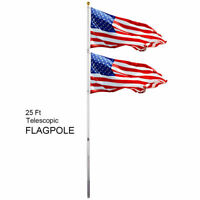 25Ft Telescoping Flagpole 2 US America Flag Kit Outdoor Flag Gold Ball Aluminum