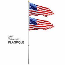 25Ft Telescoping Flagpole 2 Us America Flag Kit Outdoor Flag Gold Ball Aluminum