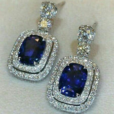 Dangle Wedding Earring Solid Sterling Silver 925 Blue Cushion Double Halo Gft Cz