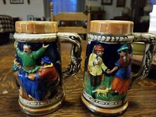 New listing Vintage Ceramic Colorful German Style Beer Stein/Mugs Lot Of 2 Made In Japan