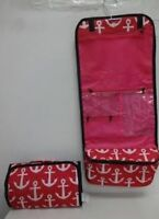 Cosmetic CASE, Hanging Makeup Bag Roll Travel Organizer,ANCHORS,PINK NEW