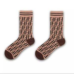 FF Designer Inspired Logo Socks Brown