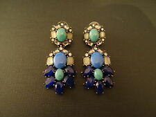 Peacock Style Resin Crystal Chandelier Statement Drop Earrings ***NEW***