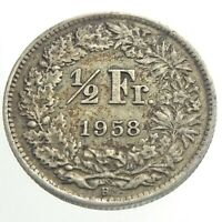 1958B Switzerland Half 1/2 Franc Circulated KM 23 Silver Coin Helvetia T371
