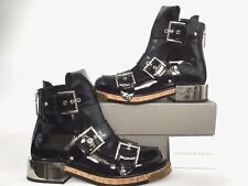 $1680 Alexander McQueen Buckle Black Patent Leather Combat Biker Ankle Boot 37/7