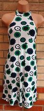 ASOS LONG NECK WHITE GREEN FLORAL DAISY CAGED BACK SMOCK BAGGY TEA DRESS 8 S