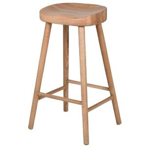 Low Lower Weathered Oak Wooden Farmhouse Kitchen Dining Breakfast Bar Seat Stool