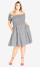 City Chic Black white check Shirred neck off the shoulder DRESS size S 16 NEW