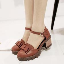 2018 Women Bowknot Buckle Strap Mary Jane Cuban Med Heel Pumps Oxfords Shoes Y*