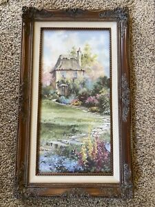 """MARTY BELL """"SURREY GARDEN HOUSE"""" Framed Canvas Print Limited Edition 20x10"""