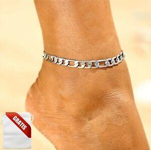 Fußkettchen Damen Silber Glieder Fußkette Fusskette Schmuck Geschenk Frauen