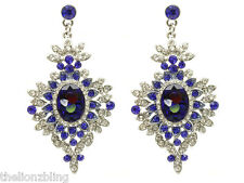 Urban Victorian Gothic Silver Earrings Blue & Clear Crystal Bling