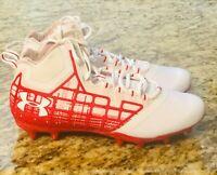 UNDER ARMOUR Banshee Mid MC Sz 9.5 Lacrosse Football Cleats 1297351-161 Red #UA