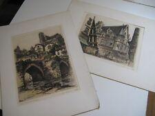LOT 2 EAUX-FORTES PONT & LOGIS LIMOGES 1936 Signées MARCEL BESSAN HAUTE-VIENNE