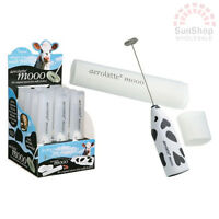 100% Genuine! AEROLATTE Mooo Milk Frother with Travel Storage Case Cow Print!
