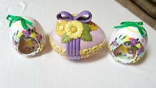 3 Ceramic Easter Egg Decorations-2 with smiling Bunnies-1Hand Painted Candy Dish