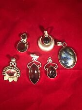 MIX LOT OF 6 STERLING SILVER PENDANTS STONES ETC