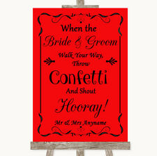 Wedding Sign Poster Print Red Confetti