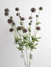 3 x Artificial Cottage Garden Thistles Purple -Ball Thistle Heads - Spiky Leaves