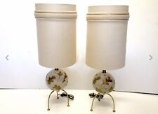 Mid Century Modern 1950 Atomic Brass And Ceramic Sphere Table Lamps Vintage