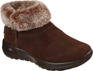 Skechers SK144003 On The Go Joy Savvy brown ladies warm winter zip up ankle boot