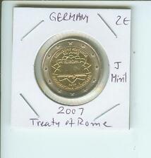 2007 GERMANY 2€  2-€  TREATY OF ROME (50 Years) Hamburg J Mint Mark