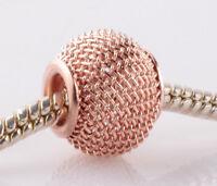 5pcs Rose Gold hollow big hole spacer beads fit Charm European Bracelet AB943
