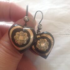 ANTIQUE VICTORIAN PIQUE GOLD INLAY EARRINGS