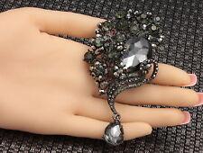 Wedding dress Bridal Bouquet black crystal Charm pendant brooch Birthday new F95