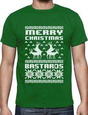 Merry Christmas Bastards Humping Reindeer Funny Ugly Christmas T-Shirt Gift