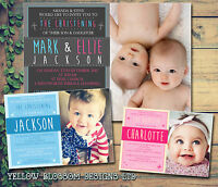 10 Joint Party Christening Naming Day Baptism Invitations Large Photo Boy Girl