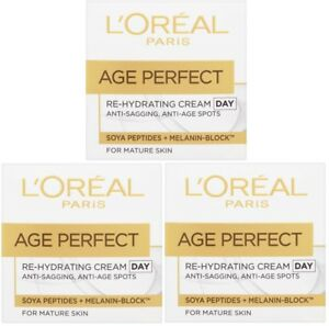 3 x 50ml LOreal Age Perfect Re-Hydrating Day Cream for Mature Skin